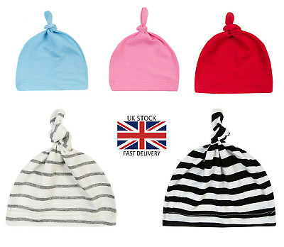 Newborn Baby Boys Girls Kids Beanie Cap Hat Knitted 100% Cotton Super Soft UK