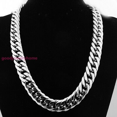 """HEAVY 20MM 20"""" Silver Cut Curb Cuban Chain 316L Stainless Steel Men's Necklace"""
