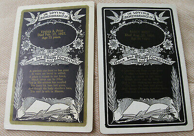 2 Antique Death Memorial Funeral Cabinet Cards In Loving Remembrance