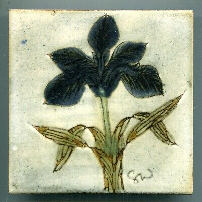"Hand painted and sgraffito 6""sq studio tile by Chelsea Pottery, 1978"