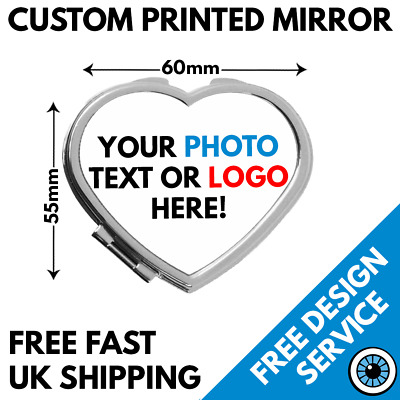 Custom Printed Heart Shaped Compact Mirror • Personalised Hen Party Gift Wedding