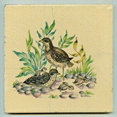 "Handpainted 6""sq tile from the ""Game Bird"" series by Packard & Ord, 1956"