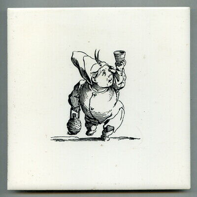 "Screen printed 6""sq caricature tile, c1970 Publican"