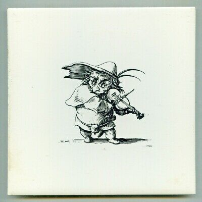 "Screen printed 6""sq caricature tile, c1970 Musician"