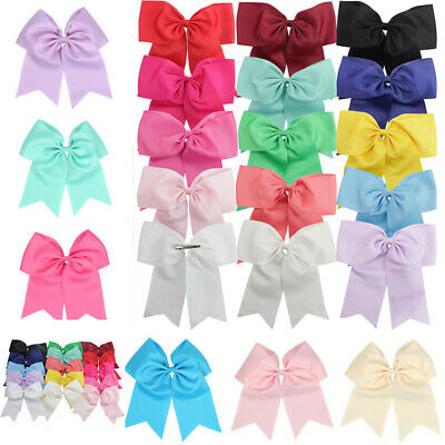 "With Bows Hair Clips Alligator 8"" Bow Party Cheerleader Cheer Large 2Pcs Ribbon"