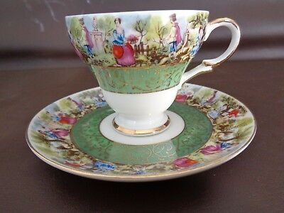 Vintage Royal Sealy Teacup & Saucer Set With Green Band (Cat.#5B057)