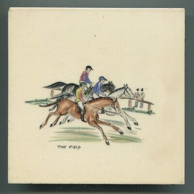 "Hand painted 6"" sq tile by Packard & Ord, from rare ""Racing Scenes"" series 1952"