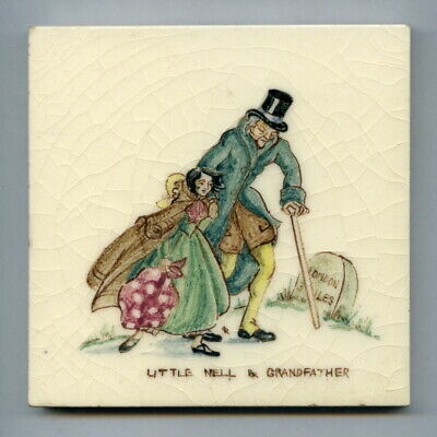 "Handpainted 4""sq tile from the ""Dickens"" series by Packard & Ord, 1950"