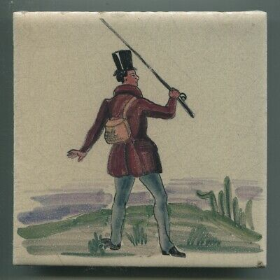 "Handpainted 6""sq tile from the ""Fisherman"" series by Packard & Ord, c1937 A/F"