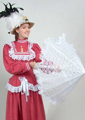 Victorian Ladies White Lace Parasol
