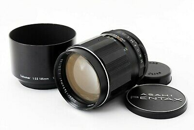 【MINT!!】 Pentax Super Takumar 135mm f/ 2.5 M42 Screw Mount MF Lens w/ Hood Japan