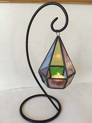 """Vintage Leaded Stained Glass Candle Votive Holder Hanging 12"""""""