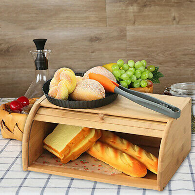 Roll top Bamboo Bread Box Wooden Storage Loaf Container Home Kitchen Food holder