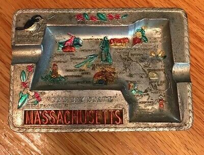 Vintage Souvenir Metal Trinket Ashtray Massachusetts Made in Japan Collectible