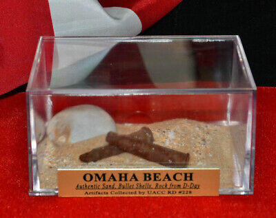 D-DAY Normandy OMAHA Beach SAND, BULLET SHELLS Display, CASE Stamp NEWSPAPER COA
