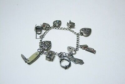 Vtg Antique Sterling Silver Charm Bracelet Knife Jack in Box Heart Charms Lot