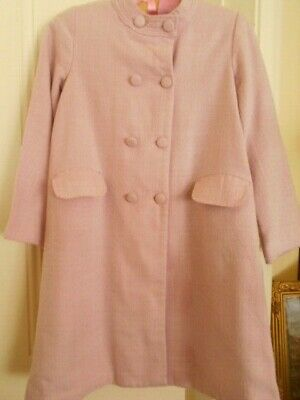 Vintage Girls Pale Pink Coat By Ladybird Acrylic Wool Blend Fabric Fully Lined