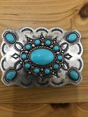 Western Belt Buckle Gorgeous Turquoise/Silver Ladies NEW RRP $33 9.5 cm x 6.5 cm