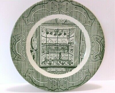 Vintage Old Curiosity Shop Plate Green Victorian Shop Window Decorative Plate