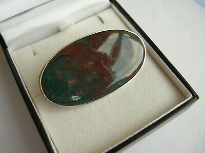 Fabulous Rare Antique Victorian Large Oval Silver Bloodstone Brooch Pin - Vgc