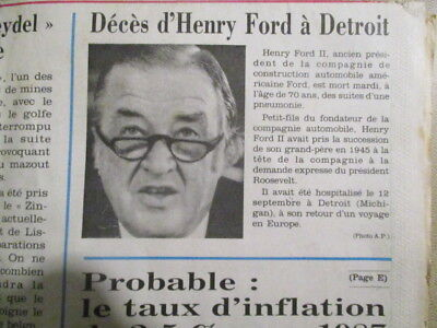 Journal Du Deces De : Henri Ford - 30/09/1987 -