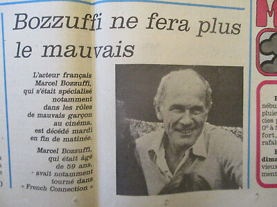 Journal Du Deces De : Marcel Bozzuffi - 03/02/1988 -