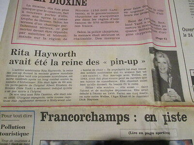 Journal Du Deces De : Rita Hayworth 16/05/1987