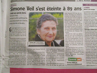 Journal Du Deces De : Simone Veil - 01/07/2017