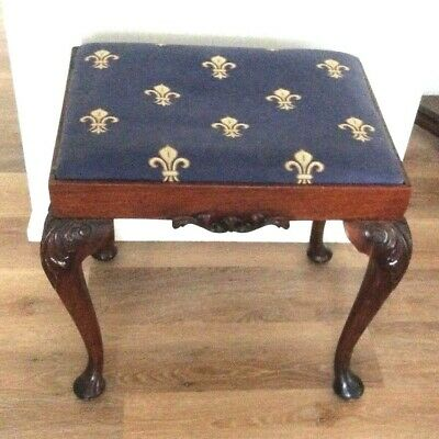 Rare French 18th. Century Antique Hand Carved Oak Stool. Dovetail Joints. Wooden