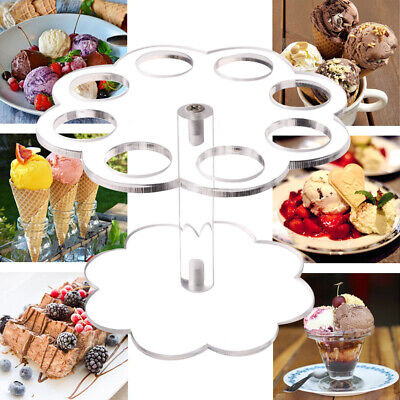 UK Acrylic Ice Cream Cone Holder Buffet Cupcake Display Stand Party Decor 8Holes