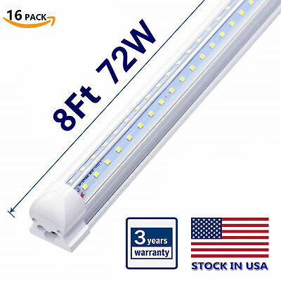 8Ft LED Shop Light, 72W 7500LM 6500K T8 V-Shape Integrated Tube Light Fixture 8'