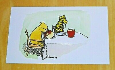 WINNIE-THE-POOH PRINTED POSTCARD ~ PIGLET AND A DANDELION CLOCK ~ NEW