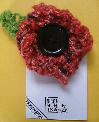 Handmade Crochet Brooch Red Poppy Flower