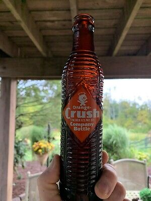 Vintage 1954 Orange Crush Soda Pop Ribbed Amber Brown Bottle 7oz Duraglass