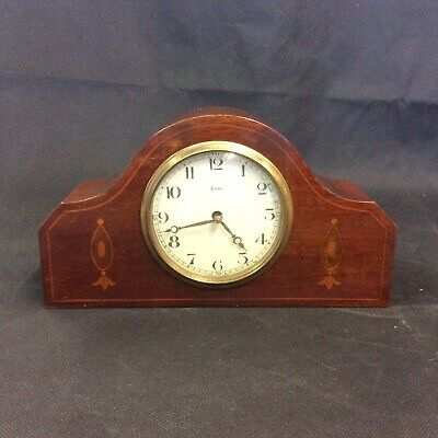 Antique Inlaid Mahogany 8 Day Mantle Clock. Working Beautifully.