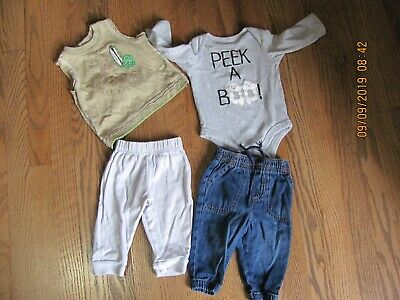 Baby Boy Clothes 3-6 Month 2 Shirts & 2 Pair Pants
