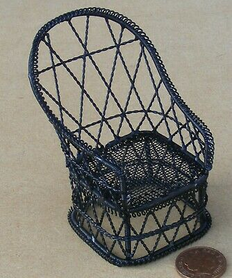 1:12 Scale Black Painted Wire Tub Chair Dolls House Garden Seat Accessory 572a