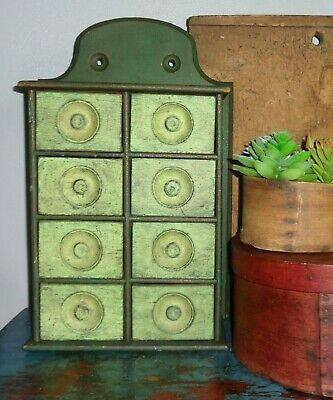 Antique 8 Drawer Spice Cabinet/Box/Cupboard/Apothecary/Chest/Greens-Painted