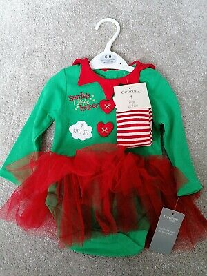 Baby Girl 6-9 Months Christmas Elf Outfit With Tights George Set Brand NEW