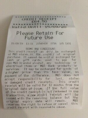 Marks an Spencer Credit/Receipt Voucher £64.50 Valid for one year