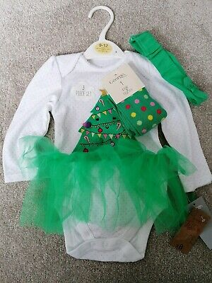 George Baby Girl Christmas 3 Piece Set 9-12 Months With Tutu Tights & Headband