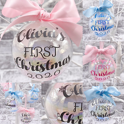 Baby's First Christmas Personalised Glass Bauble - Pink/Blue/Grey