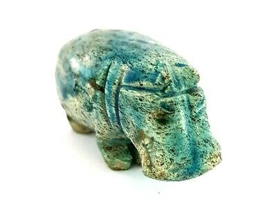 Glazed Hippo Egyptian Antique Stone hippopotamus Amulet Sacred Animal Figurine