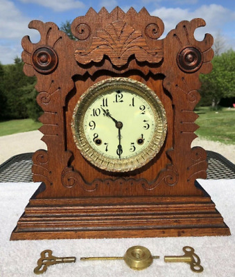 1890's Antique Ansonia Mantel Shelf Kitchen Clock Working Correctly In Oak