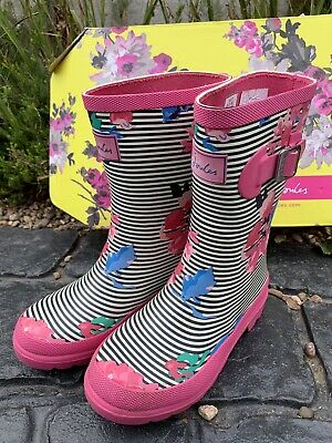 Kids Joules Girls Pink Rare Welly Boots Wellies  Wellington UK 13 Boxed derby