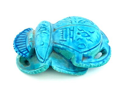 Blue Scarab Khepri Figurine Amulet Egyptian Antiques W/T Beautiful Hieroglyphic