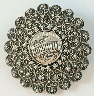 Vintage Sterling Silver 1000 Greek Greece Parthenon? C Clasp Pin Brooch Antique