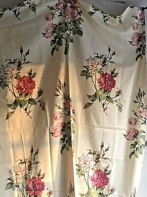 Vintage Fabric Floral Creamy Remnant Textile Pink  Roses /Projects & Sewing Fun