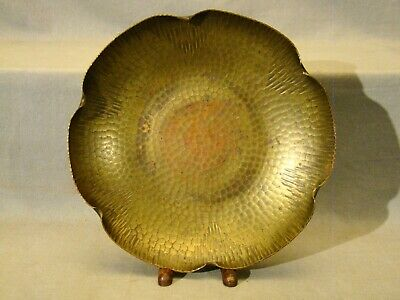 Arts & Crafts Signed Roycroft  Hammered Brass Copper Bowl early 20th c 9 3/8""