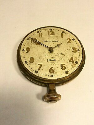 Vintage Antique 8 Day Automobile Car Clock - WALTHAM - working.  (MJ532)
